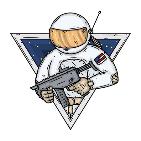 Astronaut with a gun. Cartoon astronaut in a space. Conquest of space concept.