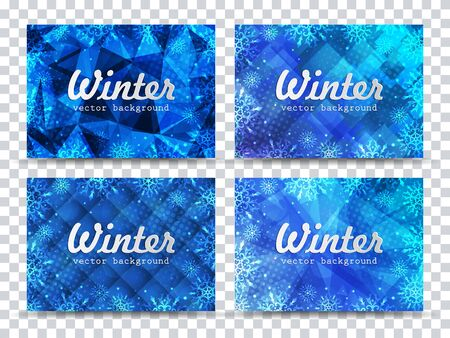 Winter backgrounds set. Winter frame with snowflakes. Christmas Greeting Card. New Year background with space for your text. Winter template. Christmas backdrop. New Year flyer. Ilustração