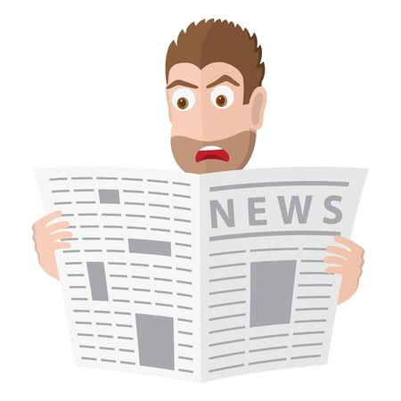 Male character look for a job in a newspaper. Vector illustration  イラスト・ベクター素材