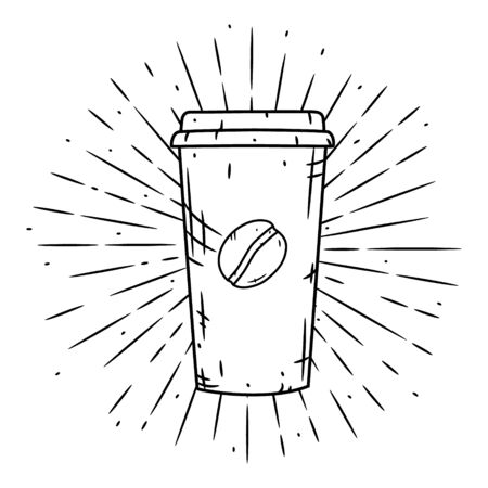 Coffee cup. Vector hand-drawn lettering for prints, posters, menu design. Cartoon coffee cup. 向量圖像
