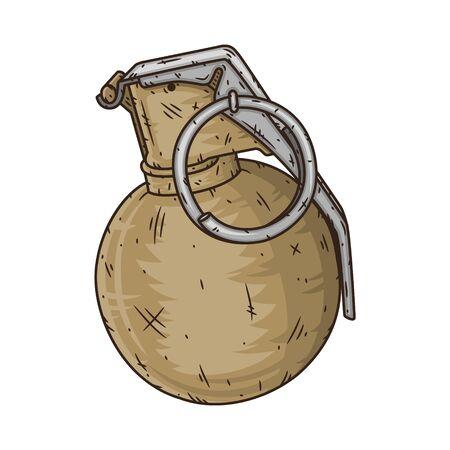 Grenade à main M67 dans un style dessiné à la main. Illustration vectorielle Vecteurs