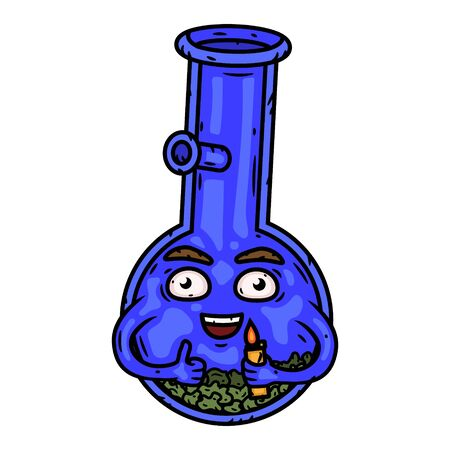 Bong. Bong with a lighter. Vector cartoon character.