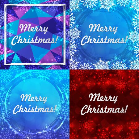 Set of four winter backgrounds. Winter frame with snowflakes. Christmas Greeting Card. New Year background with space for your text. Winter template. Christmas backdrop. New Year flyer.