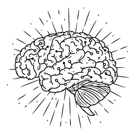 Cyber brain. Hand drawn vector illustration with brain and divergent rays. Used for poster, banner, web, t-shirt print, bag print, badges, flyer, logo design and more. 向量圖像