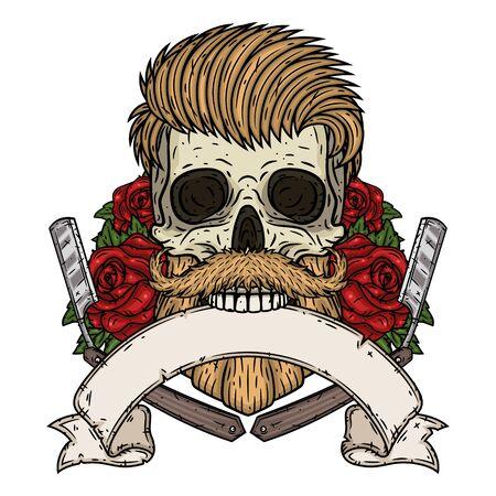 Barber Skull. Cráneo de hipster con hoja de barbero, rosas y cinta para su texto. Ilustración para peluquería. Ilustración de vector