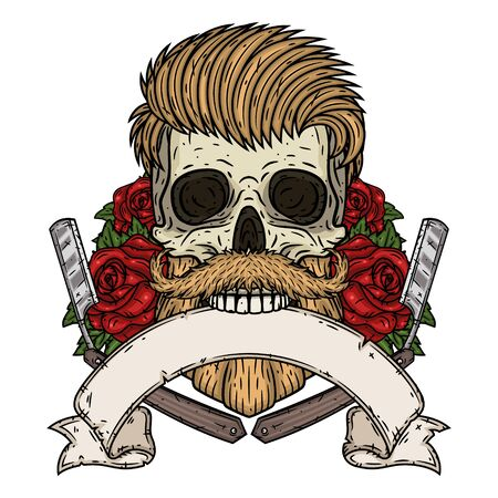 Cranio del barbiere. Teschio hipster con lama da barbiere, rose e nastro per il tuo testo. Illustrazione per il negozio di barbiere. Vettoriali