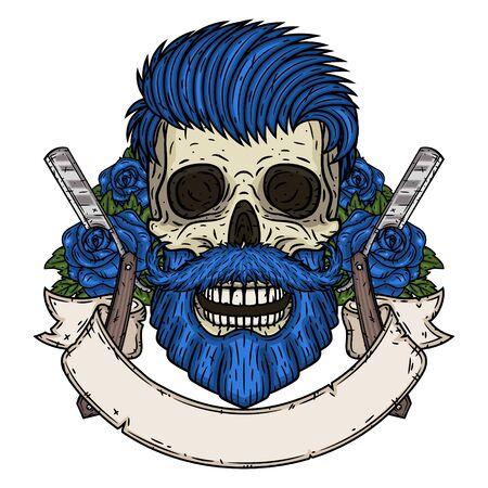 Barber Skull. Hipster skull with barber blade and roses. Illustration for barbershop.