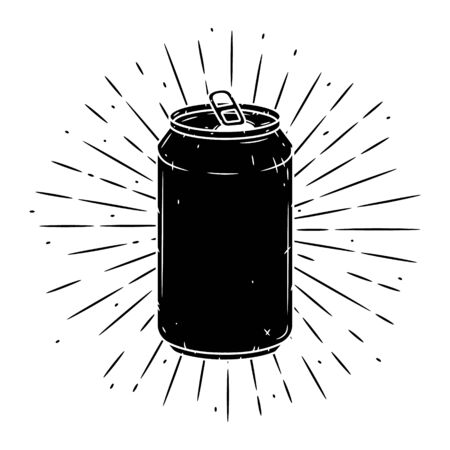 Aluminum can. Hand drawn vector illustration with Aluminum can and divergent rays. Used for poster, banner, web, t-shirt print, bag print, badges, flyer, logo design and more.