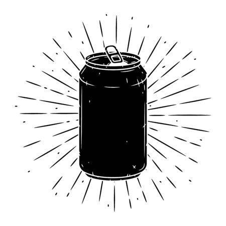 Lata de aluminio. Ilustración de vector dibujado a mano con lata de aluminio y rayos divergentes. Se utiliza para carteles, pancartas, web, estampados de camisetas, estampados de bolsos, insignias, folletos, diseño de logotipos y más. Logos