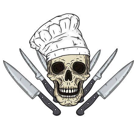 Skull in toque with knifes. Cartoon skull