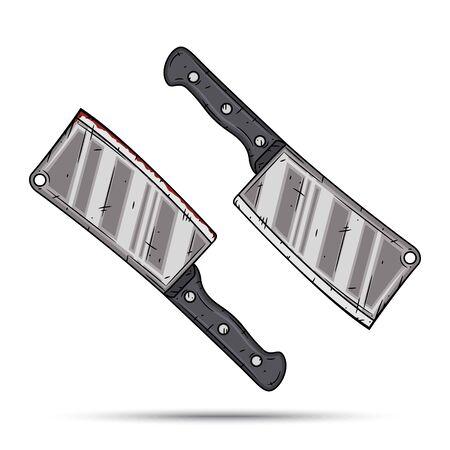 Kitchen knife, cartoon backsword. Vector illustration isolated on white background.