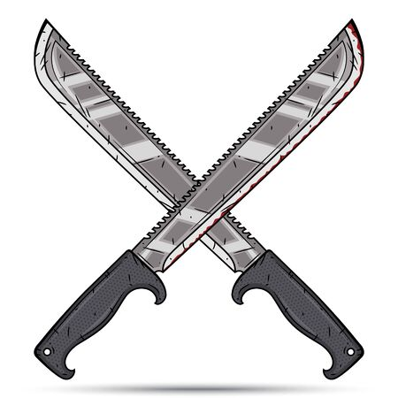 Two crossed cartoon machetes. Vector illustration isolated on white background.