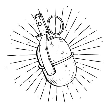 Hand drawn vector illustration with grenade. Used for poster, banner, t-shirt print, bag print, badges and logo design.