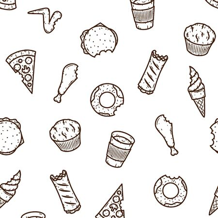 Hand-drawn seamless fast food pattern. Vector illustration Иллюстрация