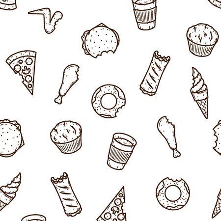 Hand-drawn seamless fast food pattern. Vector illustration Illustration