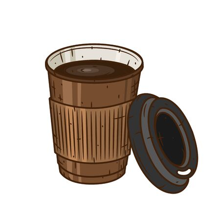 Paper coffee cup on a white background. Cartoon coffee cup.