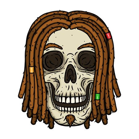 Rastaman Skull. Vector illustration isolated on white background. 向量圖像