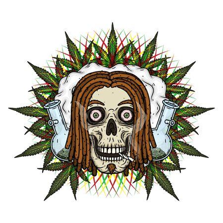 Rastaman Skull. Vector illustration isolated on white background