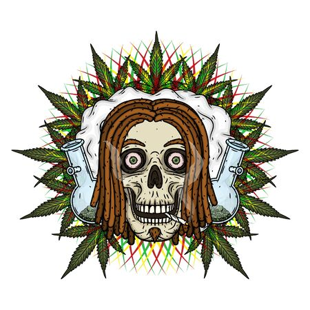 Rastaman Skull. Vector illustration isolated on white background