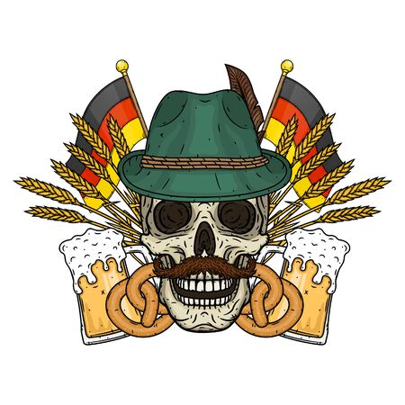 Illustration for oktoberfest. Skull in Tyrolean hat, with ears of wheat and glass of beer 向量圖像