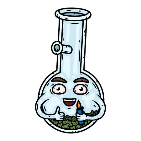 Bong. Bong with a lighter. Vector cartoon character