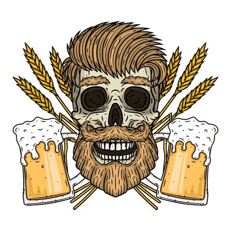 Skull with ears of wheat and glass of beer