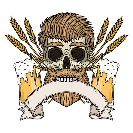 Skull with ears of wheat, glass of beer and ribbon for your text Illustration
