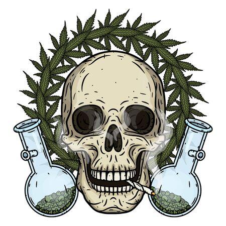 Cráneo. Cráneo con bong y hojas de marihuana. Cráneo rastaman con hojas de cannabis y porro