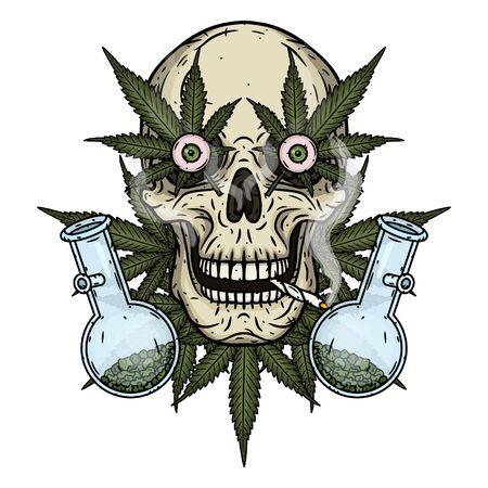 Skull. Skull with bong and marijuana leaves. Rastaman skull with cannabis leafs and spliff Illustration