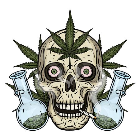 Skull. Skull with bong and marijuana leaves. Rastaman skull with cannabis leafs and spliff Stock Vector - 128653348