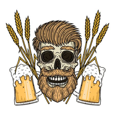 Skull with ears of wheat and glass of beer.