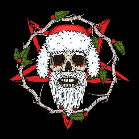 Skull. Santa claus skull. Vector illustration isolated on white background.