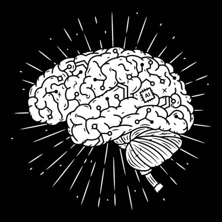 Cyber brain. Hand drawn vector illustration with brain and divergent rays. Used for poster, banner, web, t-shirt print, bag print, badges, flyer, design and more. Illustration