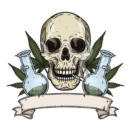 Cráneo. Cráneo con bong y hojas de marihuana. Cráneo rastaman con hojas de cannabis y porro.