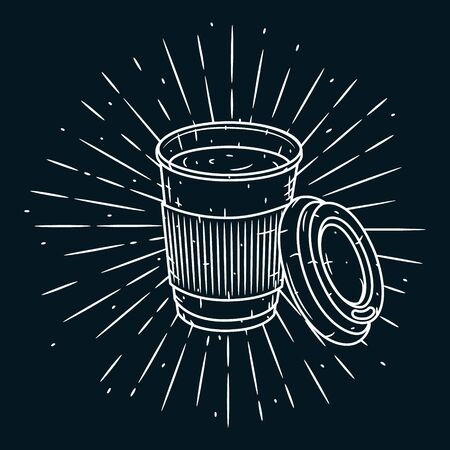 Coffee cup. Vector hand-drawn lettering for prints, posters, menu design. Cartoon coffee cup. Zdjęcie Seryjne - 129267184