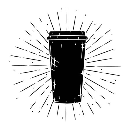 Coffee cup. Vector hand-drawn lettering for prints, posters, menu design. Cartoon coffee cup. Ilustracja