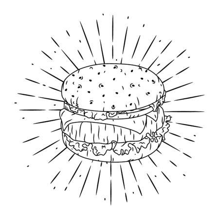 Vector illustration with Hamburger on blackboard. Used for poster, banner, t-shirt print, bag print, badges design. 向量圖像