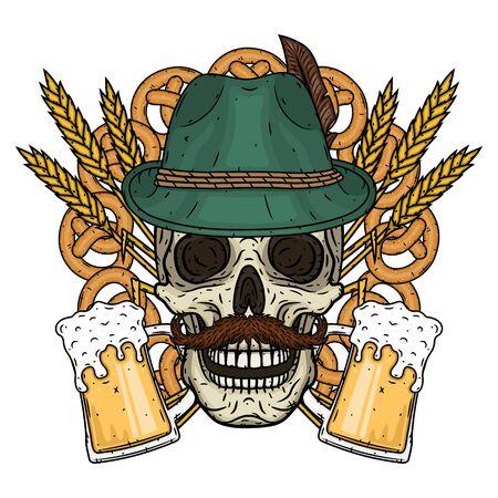 Illustrazione per l'Oktoberfest. Teschio in cappello tirolese, con spighe di grano e bicchiere di birra.