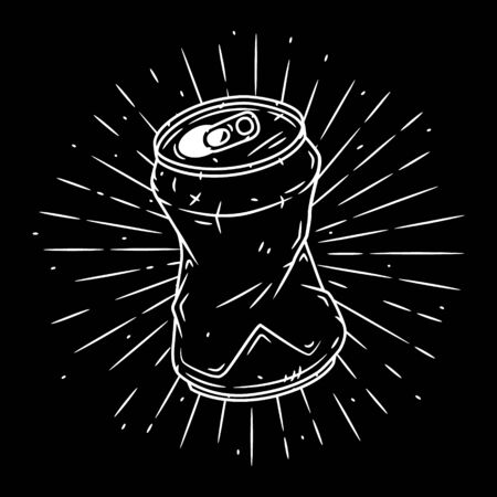 Aluminum can. Hand drawn vector illustration with Aluminum can and divergent rays. Ilustración de vector