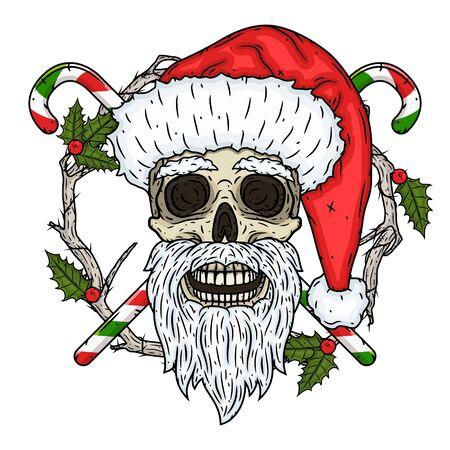 Skull. Santa claus skull Vector illustration Vector Illustratie