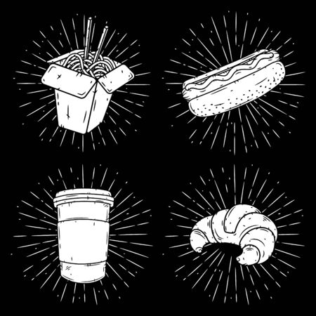 Set of fast food illustrations - wok, hot dog, coffee and croissant.