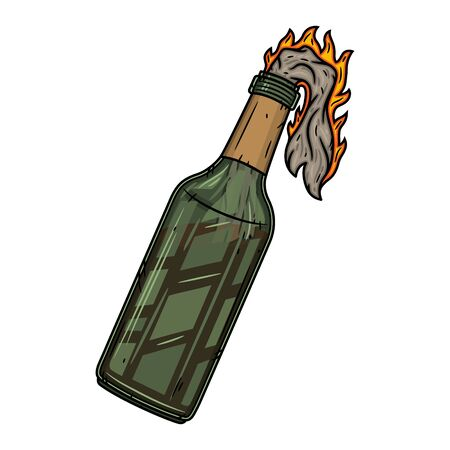 Cóctel molotov aislado sobre fondo blanco. Ilustración vectorial.