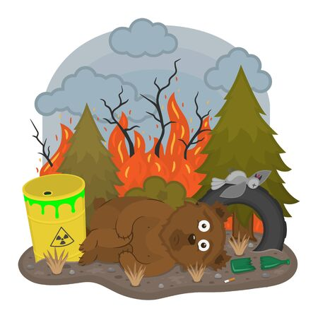 Sad bear lying in the forest among the garbage. Save forest concept. Illustration