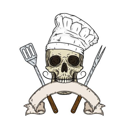 Skull in toque with barbecue tools and vintage scroll. Cartoon skull in hand drawn style. Illustration
