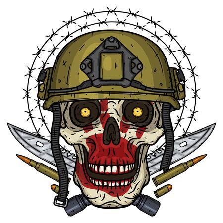 Skull in helmet. T-shirt print concept. Soldier skull. Vector illustration