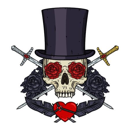 Skull. Valentine skull. The skull of the gentleman. Illustration for Valentines day