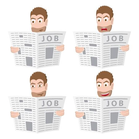 Male character look for a job in a newspaper. Vector illustration Çizim