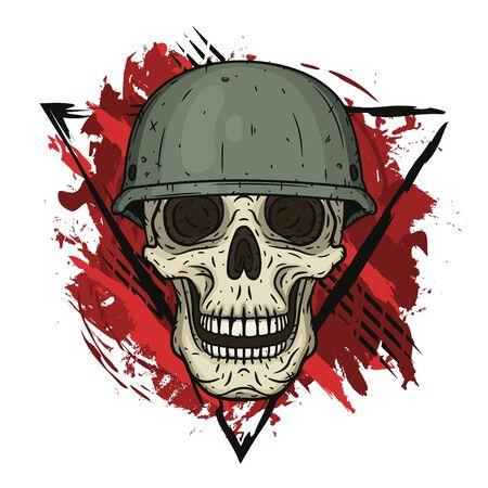 The skull in the helmet. Dead soldier