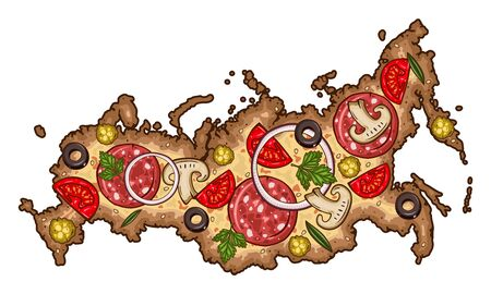 Cartoon vector pizza. Map of Russia in the form of pizza. Pizza in the form of a map of Russia.