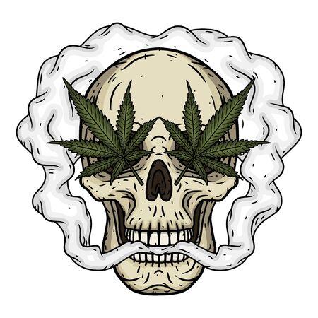 Skull. Skull with marijuana leaves. Rastaman skull with cannabis leafs and joint.